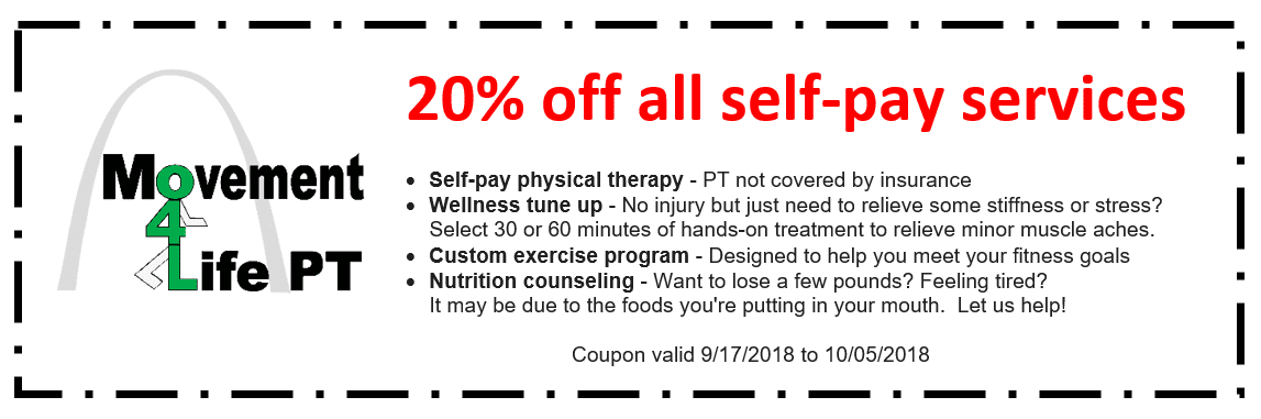 20% off all self-pay services - Coupon valid 9/17/2018 to 10/05/2018