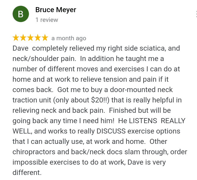 5 Star Review About Sciatica Neck and Shoulder Pain