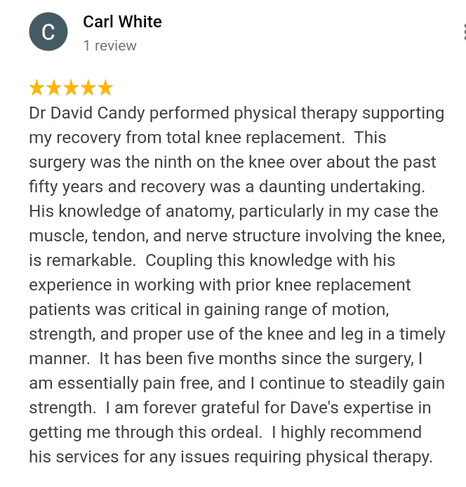 5 start google review about knee arthritis