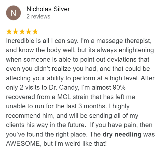 Google review about knee pain and dry needling