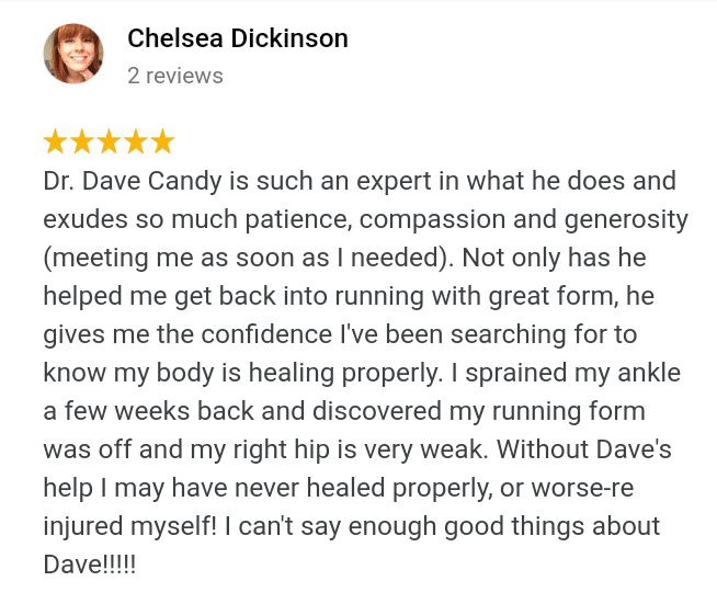 Google review about Running, ankle pain, hip pain