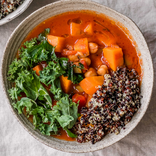 Chickpea Stew With Quinoa Sweet Potato and Kale
